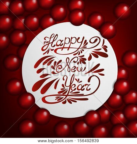 Red New Year  background with red baubles and christmas tree. Happy New Year lettering design message. New Year greeting card.