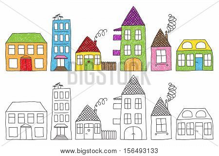 Set of naive childish drawing of different houses colored imperfectly or not colored at all.