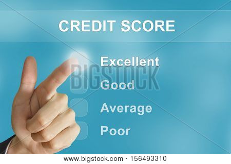 business hand clicking credit score button on screen