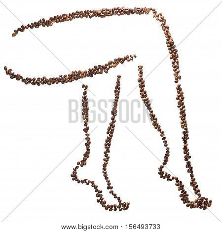 Slender woman legs silhouette of coffee beans isolated on white background. Concept of weight loss and beautiful figure.