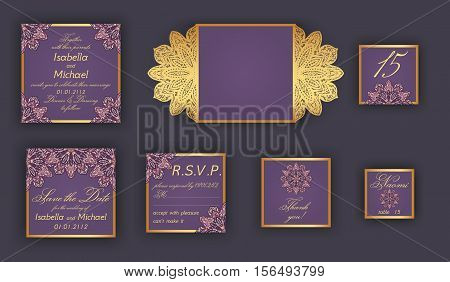 Vintage Wedding Invitation Design Set Include Invitation Card, Save The Date, Rsvp Card, Thank You C