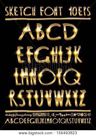 Vector Illustration Volumetric Gold Letters