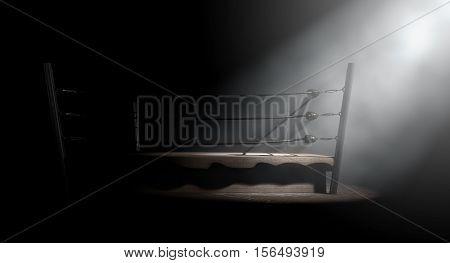 Vintage Boxing Ring Spotlit Corner