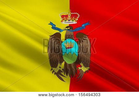 Flag of Catanzaro also known as the city of the two seas in Italia. 3d illustration