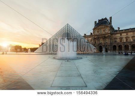 Paris France - May 6 2016: Louvre Pyramid at Louvre Museum is one of famous museum and the most visited museum in the world at Paris France.