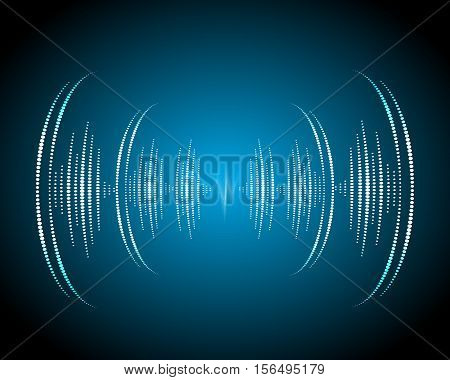 Sound waves oscillating glow, neon light. Abstract technology background ,music background, vector illustration