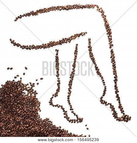 Slender woman legs silhouette of coffee beans isolated on white background. Concept of weight loss and slim figure.