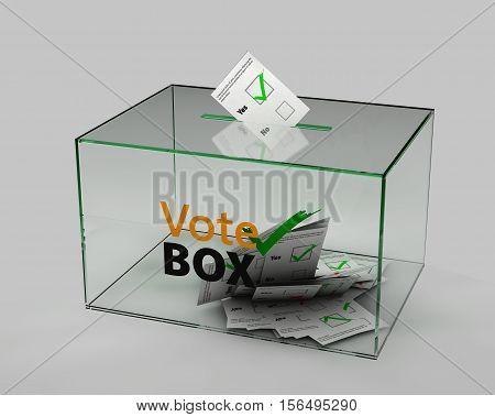 3d Illustration of box for votes on gray background