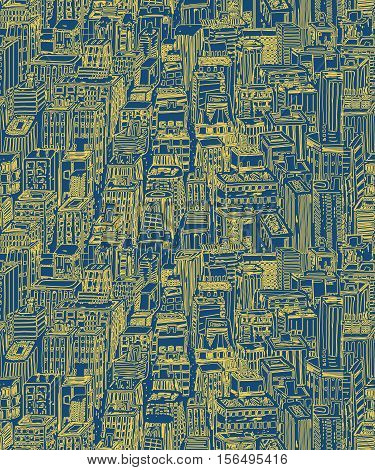 Hand drawn seamless pattern with big city New York. Vector vintage illustration with NYC architecture, skyscrapers, megapolis, buildings, downtown.