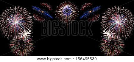 New Year Celebration Firework, Copy Space With Colorful Fireworks Light On The Sky Background.
