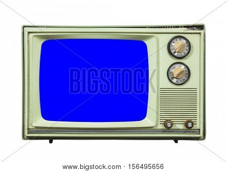 Grungy green vintage television set isolated with chroma key blue screen.
