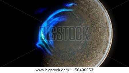 Jupiter North Aurora 3d illustration with a twist