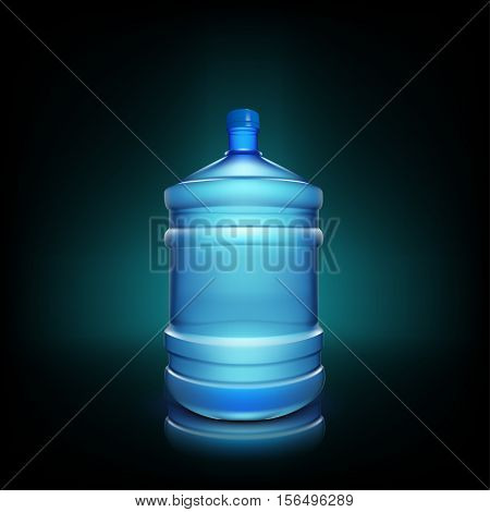 illustration of shiny big water bottle on dark background