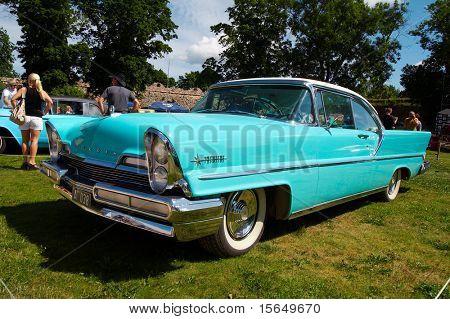 HAAPSALU, ESTONIA - JULY 18: American Beauty Car Show, showing blue 1957 Lincoln Premiere Coupe 2D HT, front view on July 18, 2009 in Haapsalu, Estonia