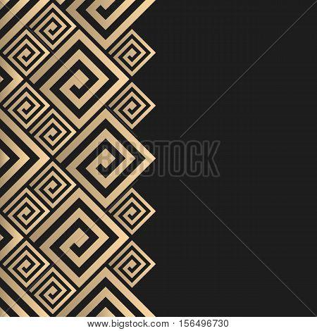 Vector geometric background greek style. Meander vector border for design. Light golden vector frame. Premium vector frame in luxury style.