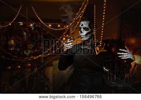Portrait of a Skeleton smoking