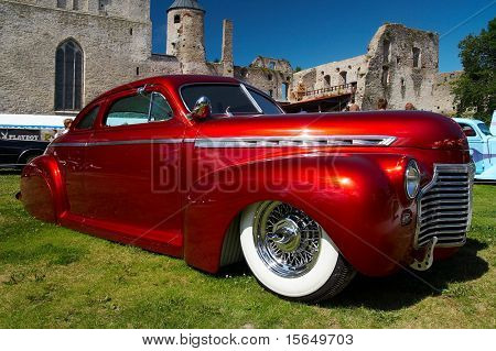 HAAPSALU, ESTONIA - JULY 18: American Beauty Car Show, showing red 1941 Chevrolet Coupe Justiina, front view on July 18, 2009 in Haapsalu, Estonia