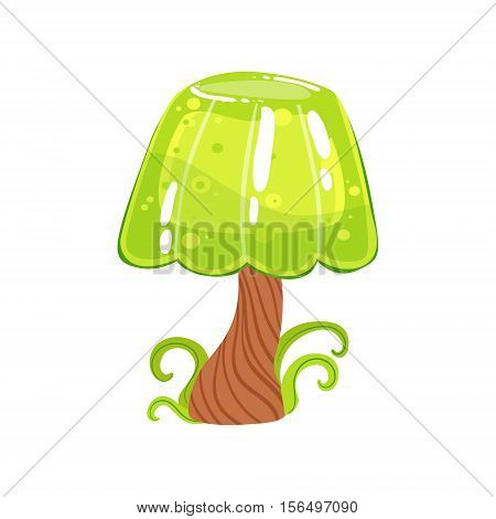Tree With Jelly Crown And Chocolate Trunk Fantasy Candy Land Sweet Landscape Element. Illustrations From Girly Magic Sweet Land Design Set For Video Game Landscaping.