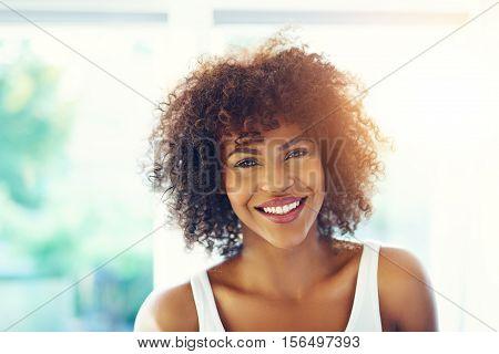 Attractive Black Girl Smiling At Camera
