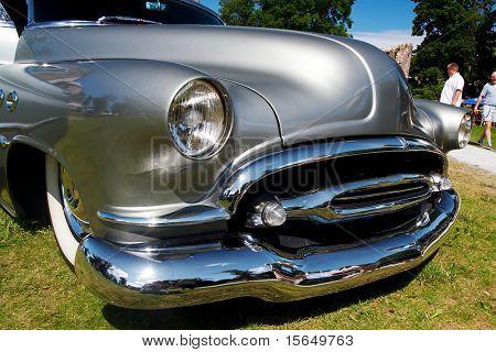 HAAPSALU, ESTONIA - JULY 18: American Beauty Car Show, showing grey 1952 Buick Super, front detail on July 18, 2009 in Haapsalu, Estonia
