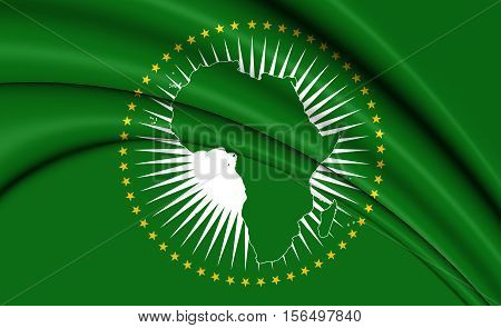 3D Flag of the African Union. 3D Illustration. Close Up.