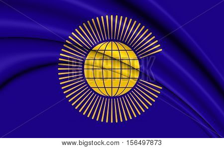 Commonwealth of Nations Flag. 3D Illustration. Close Up.