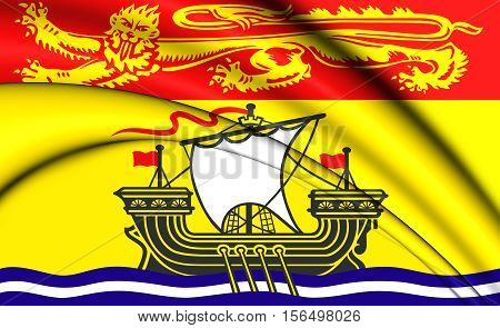 3D Flag Of New Brunswick Province, Canada. 3D Illustration.