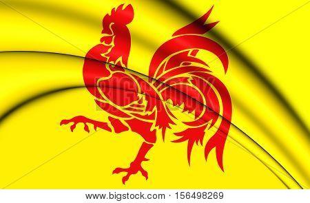 Flag Of Wallonia Region, Belgium. 3D Illustration.