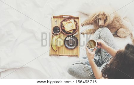 Young woman with her dog in a bed. Breakfast in bed - french toasts with a cup of coffee.