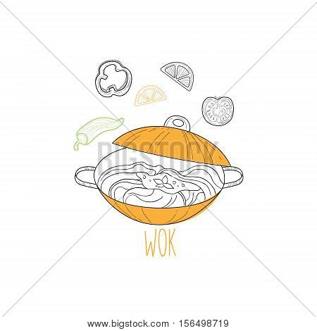 Wok With Noodles Chinese Food And Wok Fast Food Cafe Menu Hand Drawn Illustration. Trendy Asian Junk Food Restaurant Promo Sketch Drawings.