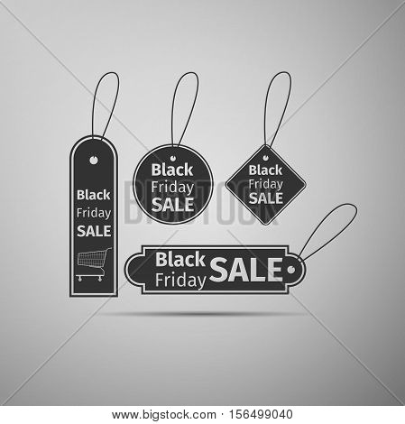 Black Friday sales tag flat icon on grey background. Vector Illustration