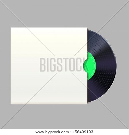illustration of vinyl record with green label in pack isolated on grey background