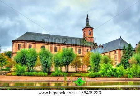 View of Moyenmoutier Abbey in the Vosges Department of France, Grand Est Region