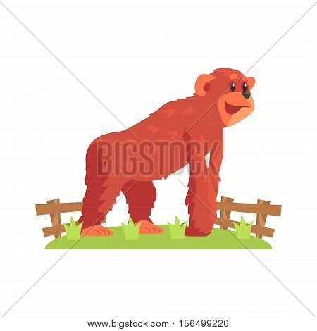 Chimpansee Ape On All Fours Standing On Green Grass Patch In Open Air Zoo Enclosure. Wild Animal Enclosed In Outdoor Zoological Park Funky Style Illustration On White Background.