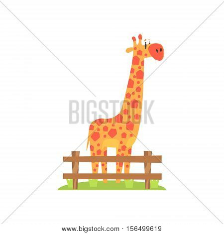 Tall Orange Giraffe With Hexahedron Shaped Spots Standing On Green Grass Patch In Open Air Zoo Enclosure. Wild Animal Enclosed In Outdoor Zoological Park Funky Style Illustration On White Background.