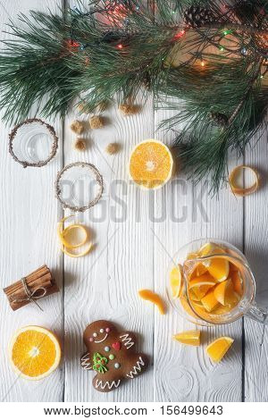 Set for orange grog preparation vertical background, top, view