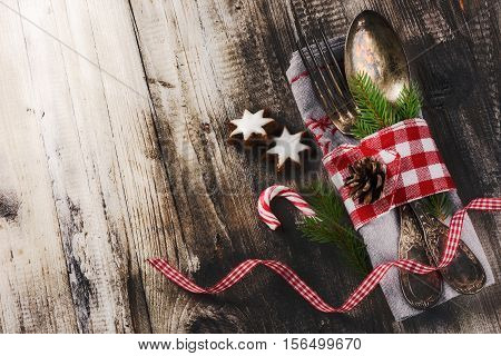 Christmas table setting in in retro style. Christmas background with copy space