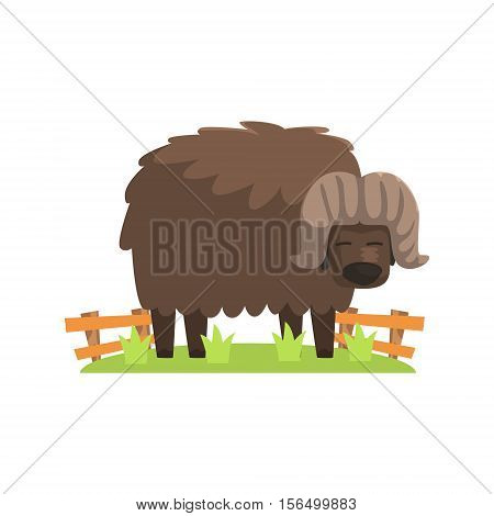 Musk Ox With Scruffy Brown Coat Standing On Green Grass Patch In Open Air Zoo Enclosure. Wild Animal Enclosed In Outdoor Zoological Park Funky Style Illustration On White Background.