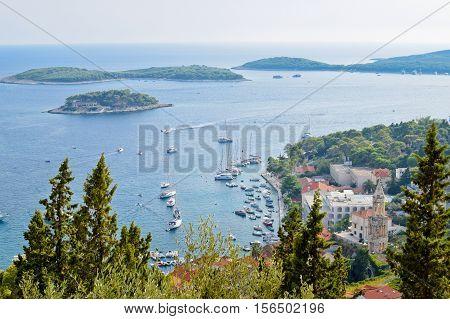 View of Hvar port in the autumn Croatia