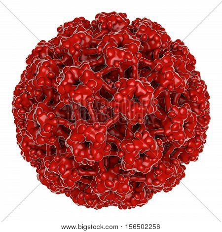 Human papillomavirus isolated on white background, 3D illustration. A virus which causes warts located mainly on hands and feet. Some strains infect genitals and can cause cervical cancer.