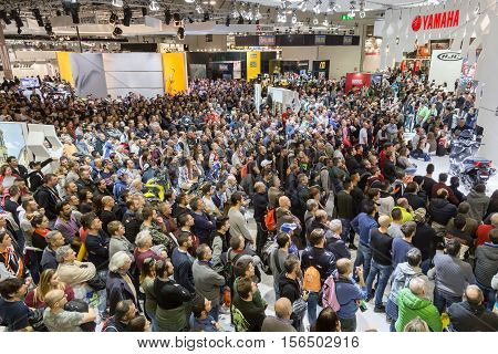 People Visiting Eicma 2016 In Milan, Italy
