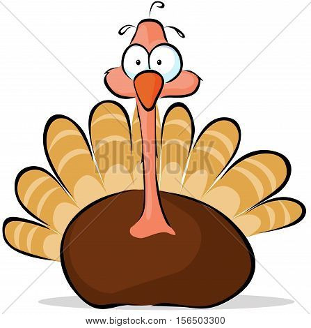 turkey - cute vector illustration isolated on white