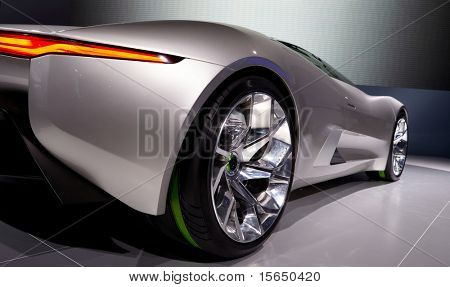 PARIS, FRANCE - SEPTEMBER 30: Paris Motor Show on September 30, 2010, showing Jaguar C-X75, rear-side closeup view