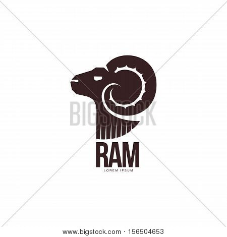 Ram, sheep, lamb head silhouette graphic logo template, vector illustration on white background. Side view black and white sheep, lamb, ram silhouette head for business, farm, wool products logo