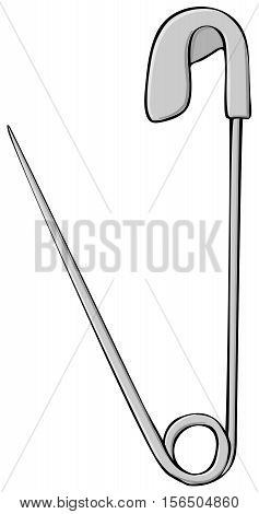 Illustration of an open steel safety pin.