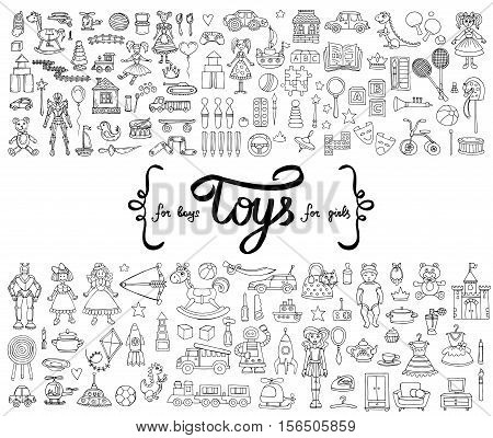 Vector set with hand drawn isolated doodles of toys for boys and girls. Flat illustrations on the theme of activities for children games. Sketches for use in design