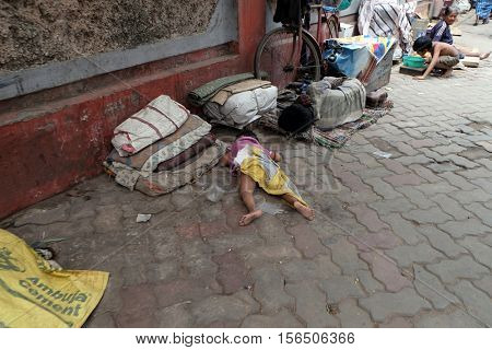 KOLKATA, INDIA - FEBRUARY 11: Homeless family living on the streets of Kolkata, India on February 11, 2016.