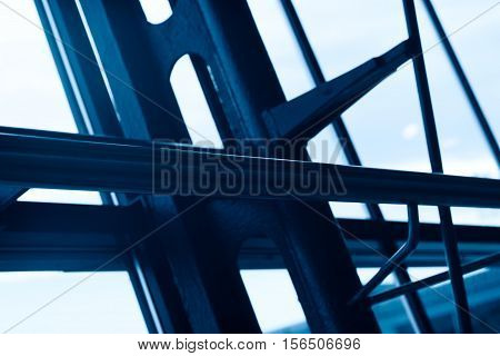 Blue airport steel construction element background hd