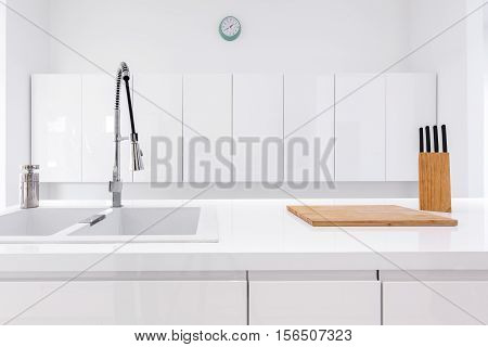 Minimalist, White Kitchen And Wooden Accessories
