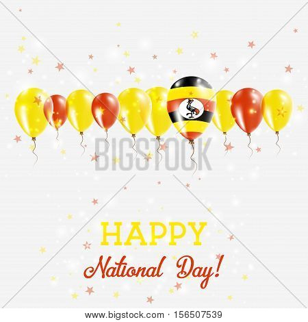 Uganda Independence Day Sparkling Patriotic Poster. Happy Independence Day Card With Uganda Flags, C